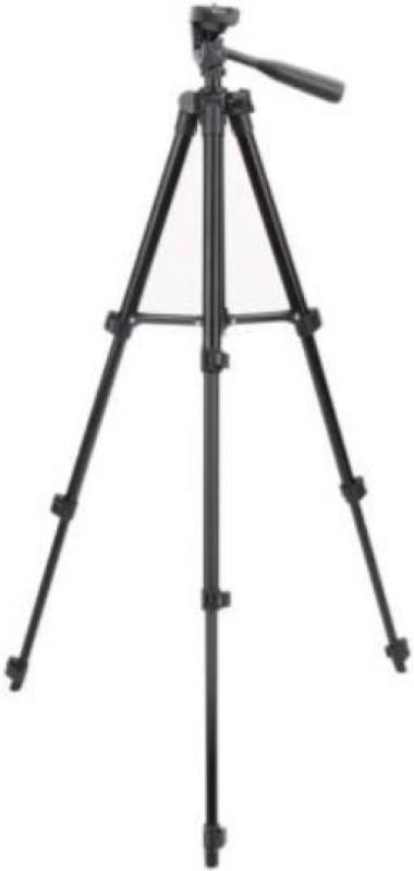 KKREJA 50wqzt _TRIPOD 3110 Portable Adjustable Aluminium Mobile & Camera Stand Tripod(Black, Silver, Supports Up to 3000 g)