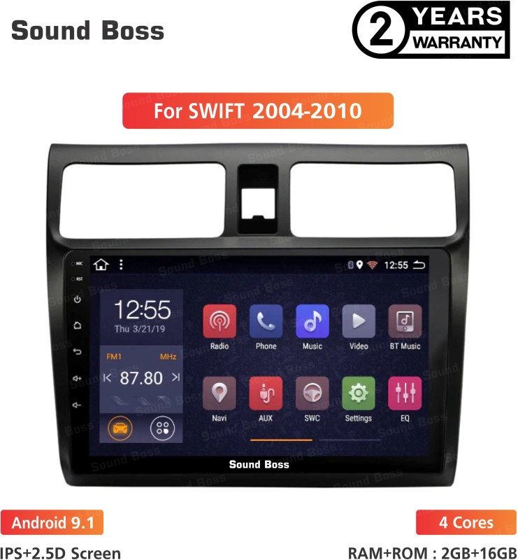 "Sound Boss Androidify 3rd Generation 9"" Inch Android 9.1(2GB/16GB) For Maruti Suzuki Swift 2004-2010 Android Car Stereo(Double Din)"
