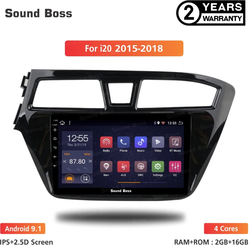 "Sound Boss Androidify 3rd Generation 9"" Inch Android 9.1(2GB/16GB) For Hyundai Grand i20-2015-2018 Android Car Stereo (Double Din) Car Stereo(Double Din)"