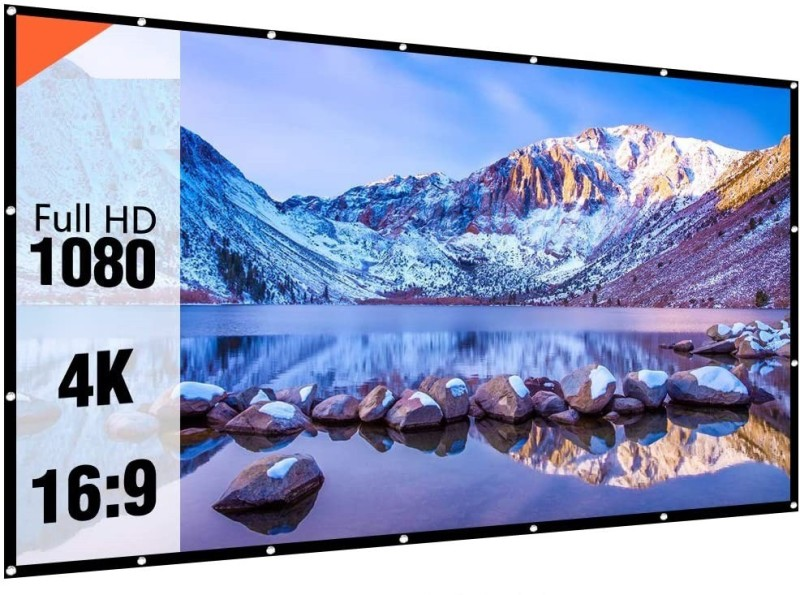 """RANWAR Eyelet Foldable Projector Screen 84"""" Inch 4:3 Aspect Ratio 6 ft (W) x 4 ft (H) Projector Screen 3D Supported Projector Screen (Width 184 cm x 123 cm Height)"""