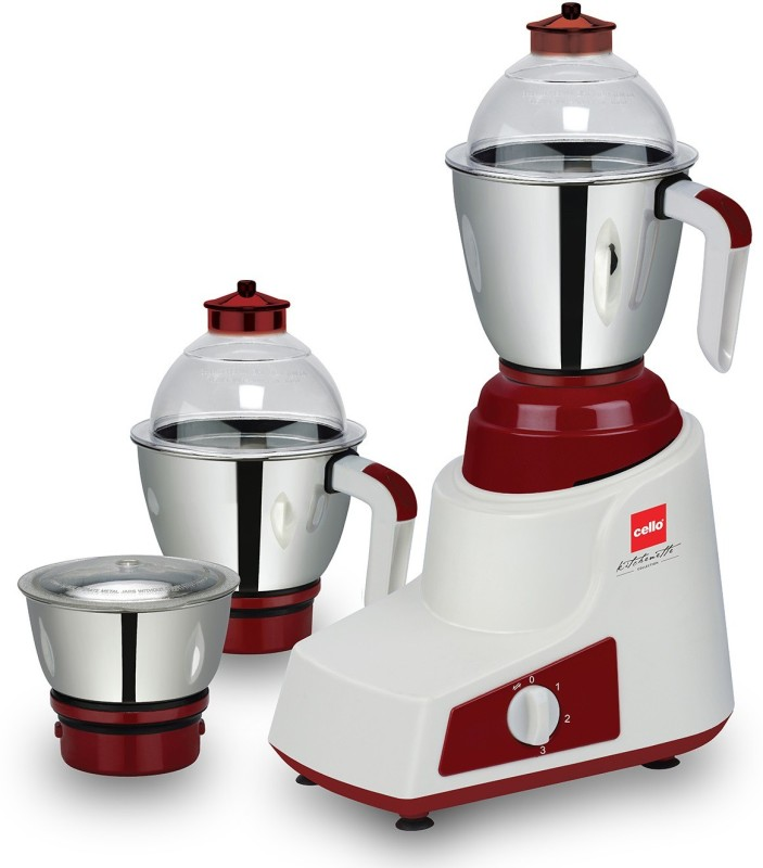 Cello Crysta Mixer 750 W Mixer Grinder(White, Maroon, 3 Jars)