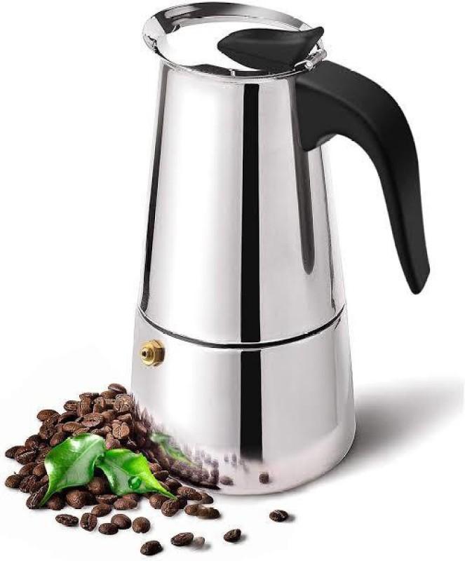 MD RETAIL 1 Stovetop Espresso Maker, Moka Pot, Percolator Italian Coffee Maker (300ml / 6 Cup), Mocha Cappuccino and Latte Single-Origin Pour, Stainless Steel Pot 6 Cups Coffee Maker(Silver)