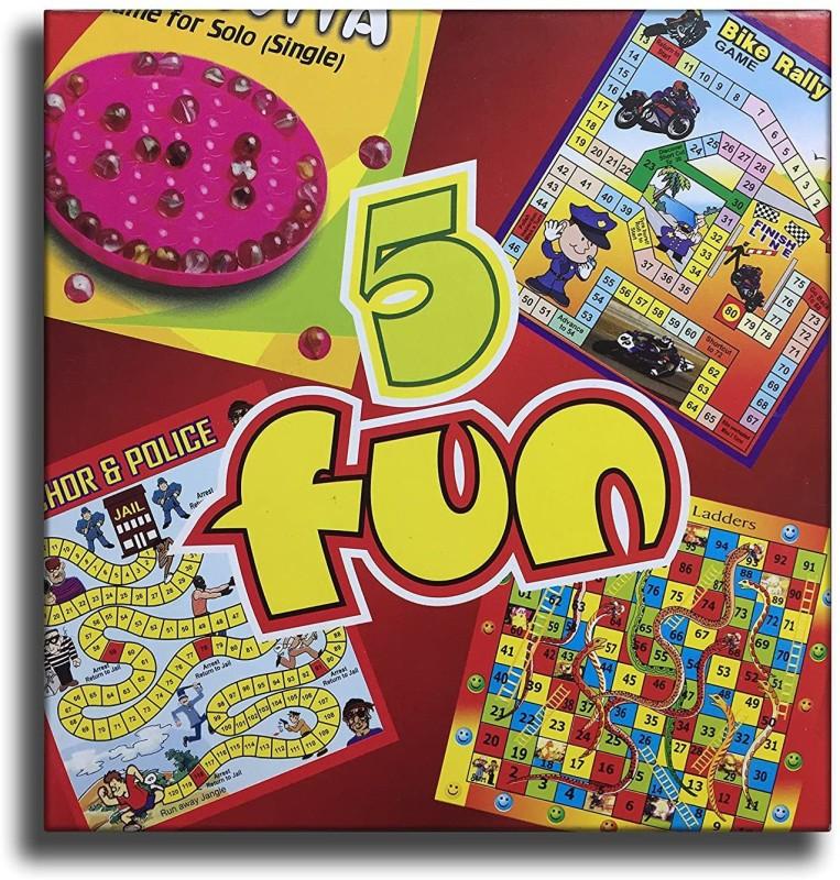 MINTLEAF 5 in 1 Board Game Brainvita, Bike Rally, Chor & Police, Snake and Ladder and monkey Race Board Game Accessories Board Game
