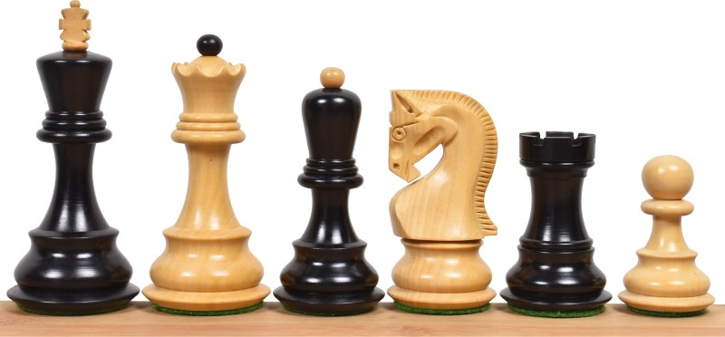"""Royalchessmall 3.9"""" Russian Zagreb 59' Series Chess Pieces only set - Weighted Ebonised wood Board Game Accessories Board Game"""