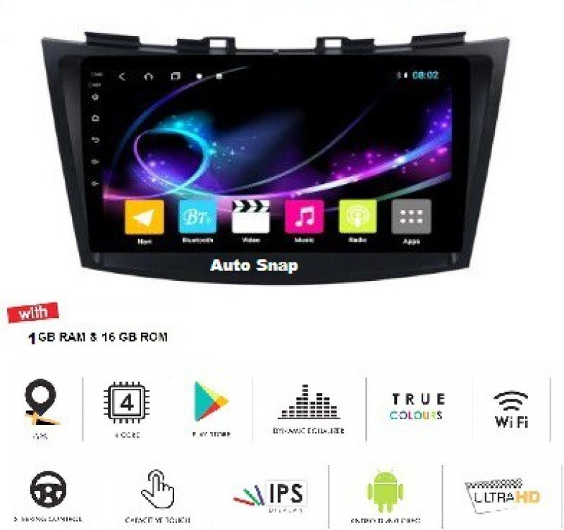 Auto Snap 9 Inch Full HD 1080 Touch Screen Double Din Player Android 8.1 Gorilla Glass IPS Display Car Stereo with GPS/Wi-Fi/Navigation/Mirror Link Car Stereo(Double Din)