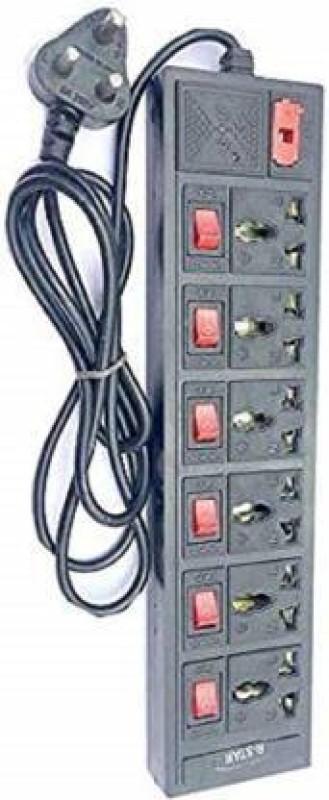 Skeisy 3METER 6 PLUS 6 SHOCKET 240V UP TO 6AMP EXTENSION BOARD 6  Socket Extension Boards(Black)