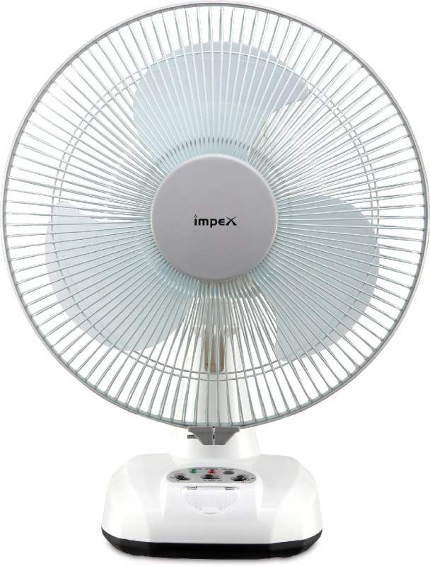 Impex Solar Rechargeable Fan (BREEZE D3) with LED Light 3 Speed Mode 305 mm 3 Blade Table Fan(White, Pack of 1)