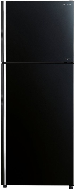 Hitachi 375 L Frost Free Double Door Top Mount 2 Star (2020) Refrigerator(Glass Black, R-VG400PND8)