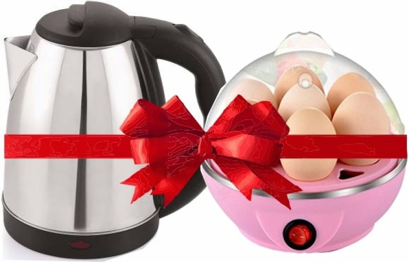MONSTA X FIT Stainless steel automatic electric multipurpose KETTLE (2 L, Black) with EGG COOKER XC01 Electric Kettle(2 L, Black, Pink)