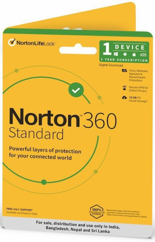 Norton 360 Standard 1 PC 1 Year Total Security (Physical Sleeve)  (Standard Edition)(Voucher)