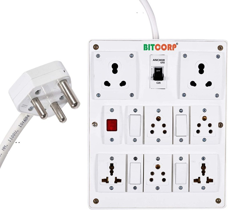 BITCORP Extension Board 6A 15A 16A 7 Socket 4 Switch With MCB and Universal Multi Outlet 15 Meter 1.5 mm Long Wire Cable Cord With 15 16 Amp Power Plug 7  Socket Extension Boards(White)