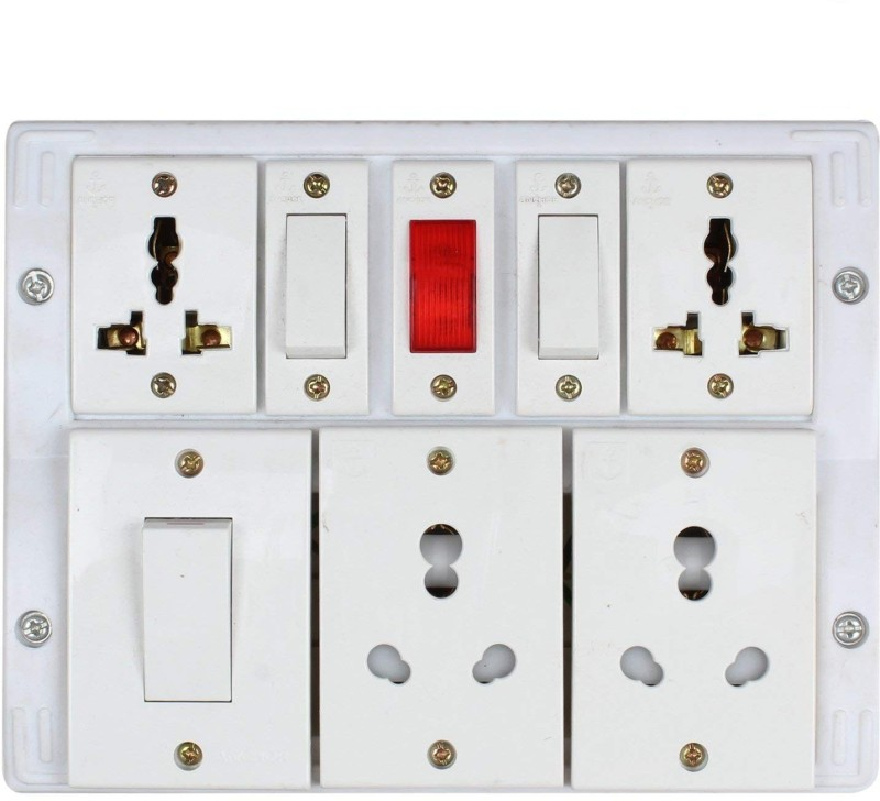 Bahul Shri Krishn Bahul power strip extension multi outlet board Fitted with 3 Anchor Switches And 6 Anchor Sockets with 2 metre Chord 4 Socket Surge Protector 3  Socket Extension Boards(White)