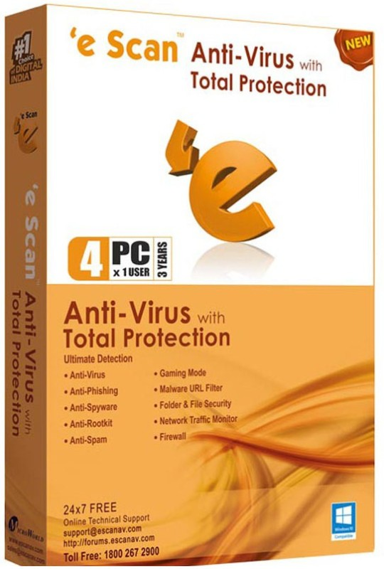 ESCAN Anti-virus 4.0 User 3 Years(Voucher)