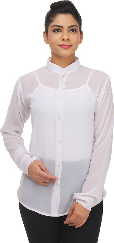 TeeMoods Women Solid Casual White Shirt
