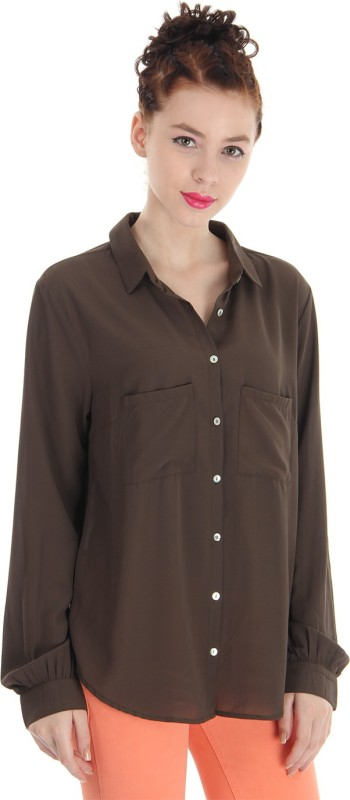 Pepe Jeans Women Solid Casual Brown Shirt