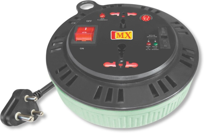 MX 15 Amperes 2 universal Sockets Non Flammable Extension Box with 3 meters Electrical power cable, Fuse and Mov 2  Socket Extension Boards(Multicolor)